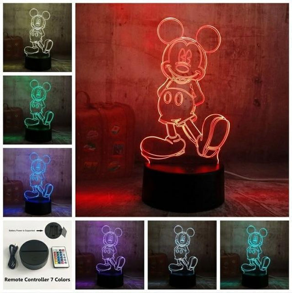3D Mickey LED Night Light-Decorative Night Lamp-Remote one 7 Color / China-Khadiza Electricals