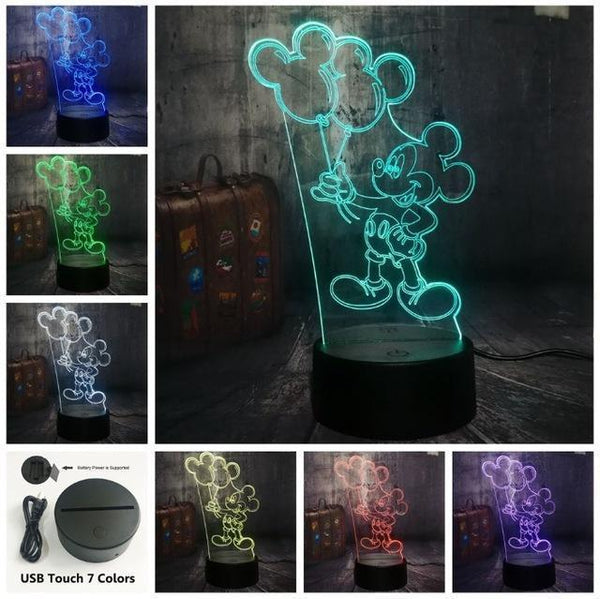 3D Mickey LED Night Light-Decorative Night Lamp-Touch one 7 Color4 / China5-Khadiza Electricals