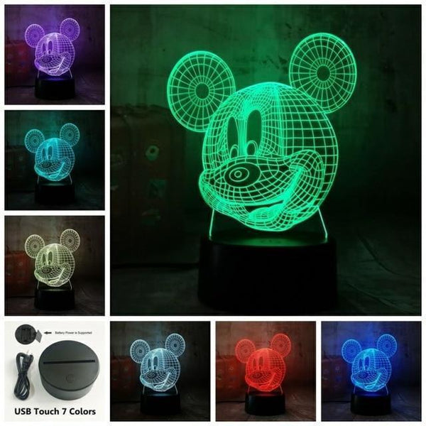 3D Mickey LED Night Light-Decorative Night Lamp-Touch one 7 Color16 / China17-Khadiza Electricals