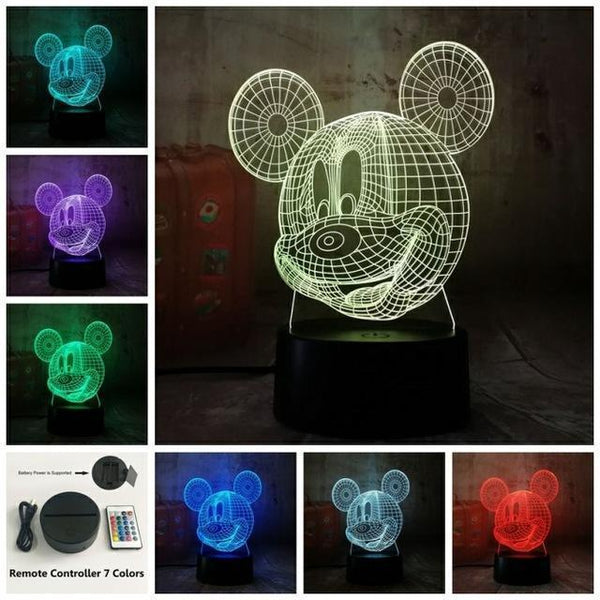 3D Mickey LED Night Light-Decorative Night Lamp-Remote one 7 Color20 / China21-Khadiza Electricals