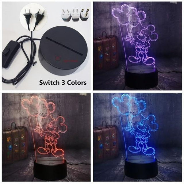 3D Mickey LED Night Light-Decorative Night Lamp-Switch one 3 Color0 / China1-Khadiza Electricals