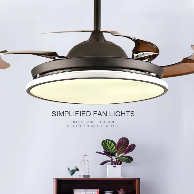 Nordic Style Ceiling Fan With Led Light Hidden Blades Bulbs Include Khadiza Electricals