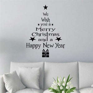 Christmas Decorative Tree with Letters Wall Sticker for Home Decor-Non Electric Home Decor-Black / China-Khadiza Electricals