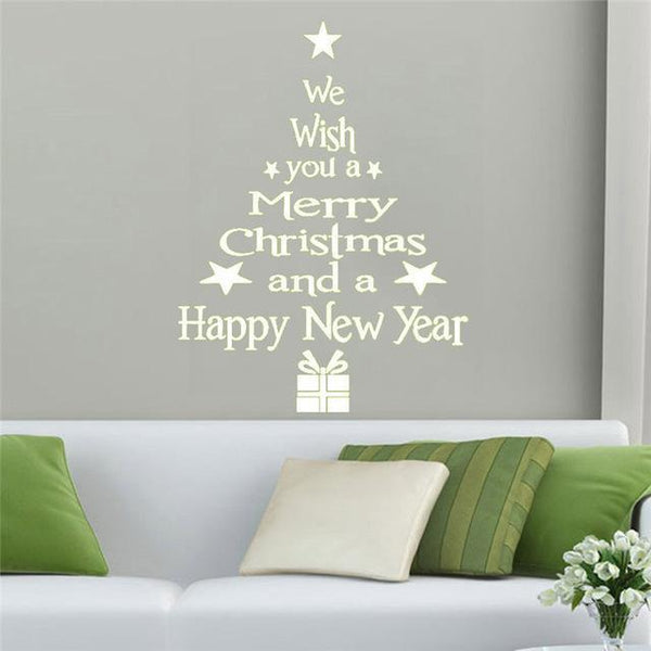 Christmas Decorative Tree with Letters Wall Sticker for Home Decor-Non Electric Home Decor-White / China-Khadiza Electricals