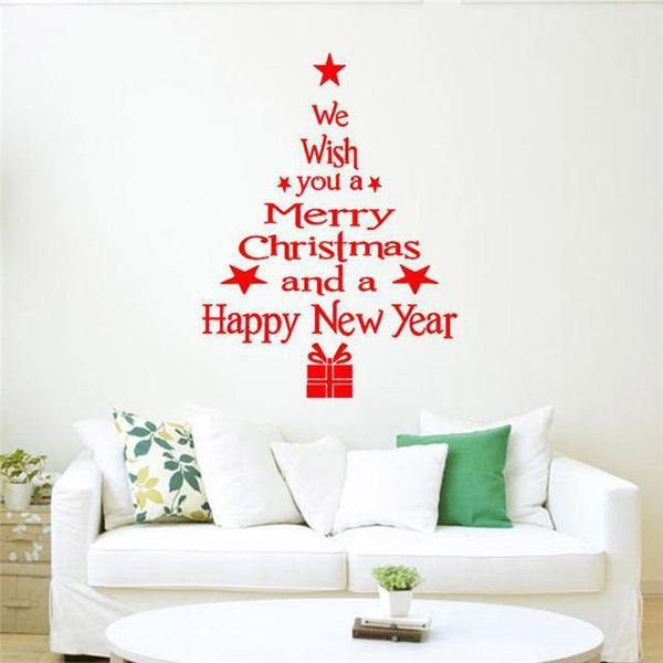 Christmas Decorative Tree with Letters Wall Sticker for Home Decor-Non Electric Home Decor-Red / China-Khadiza Electricals