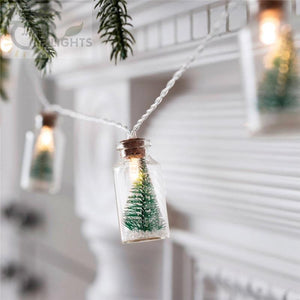 Christmas Tree Glass Jar Bottle String Lights
