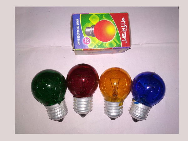 Khadiza Incandescent Round Color 40w Bulb (Box of 20 pcs)-[product_type]-E27 / India / Red-Khadiza Electricals