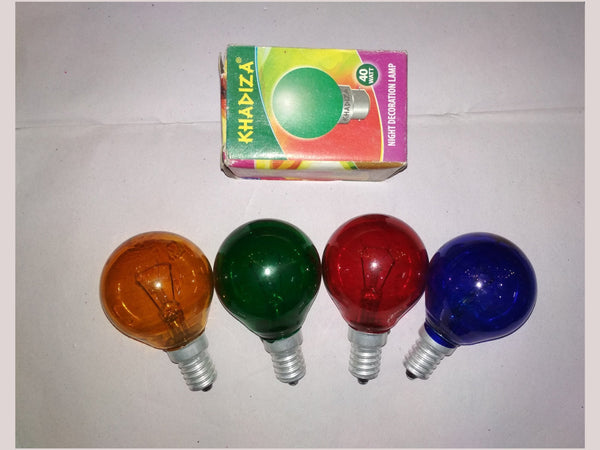Khadiza Incandescent Round Color 40w Bulb (Box of 20 pcs)-[product_type]-E14 / India / Red-Khadiza Electricals