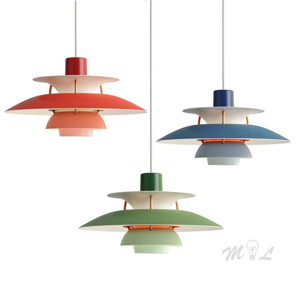 Colourful PH5 Aluminum Hanging Pendant Lamp for Home Deco