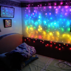 Rainbow colored led curtain icicle string light