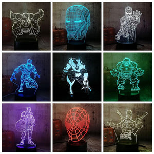 3D Super Hero LED Desk Night Lamp (Color Changing)-Decorative Night Lamp-[variant_title]-Khadiza Electricals