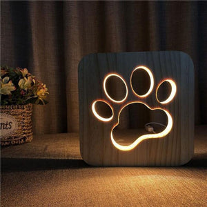 Wooden Cute dog claw marks LED Night Lamp (3D)-Decorative Night Lamp-D-Khadiza Electricals