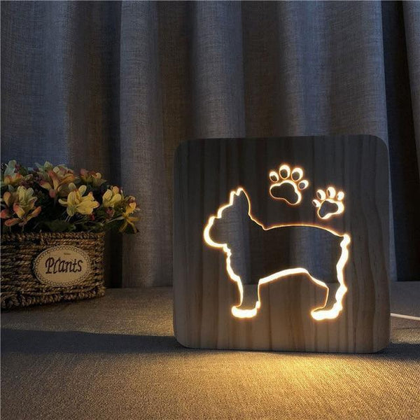 Wooden Cute dog claw marks LED Night Lamp (3D)-Decorative Night Lamp-B-Khadiza Electricals