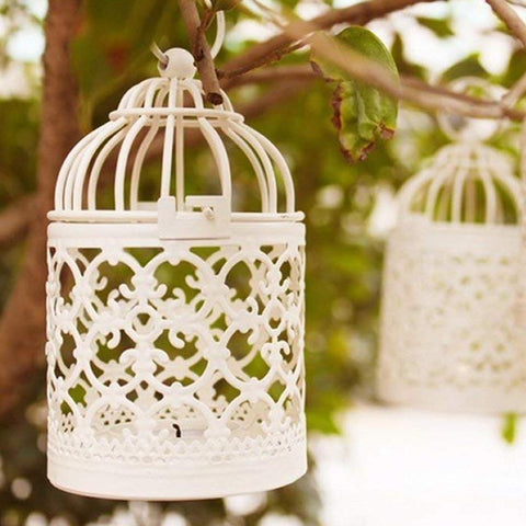Creative Metal  Tealight Candle Holder Hanging Lanterns for Home/ Table Decor Beige