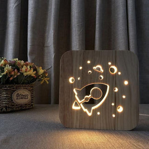 Wooden Shadow Rocket Night Lamp (3D) – Khadiza Electricals