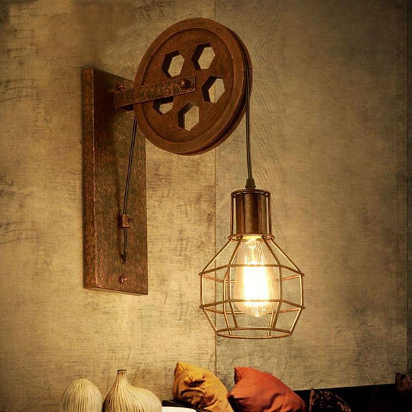 Retro Loft Adjustable Lifting Pulley Wall Lamp