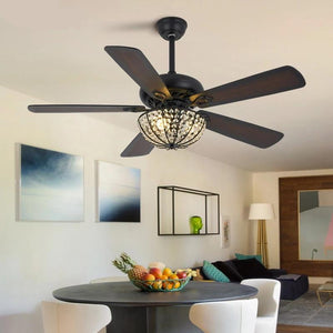 Modern Ceiling Decorative Fan with Crystal Lampshade E27 for 220V