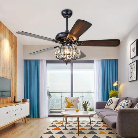 Modern  Retro Style Decorative Ceiling Fan with Crystal Lampshade E27 for 220V