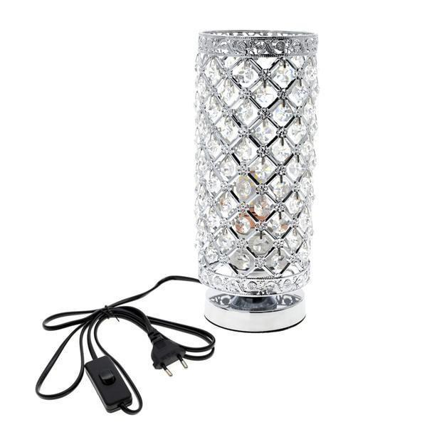 Elegant Crystal Table Lamp-Decorative Table Lamp-Silver-Khadiza Electricals