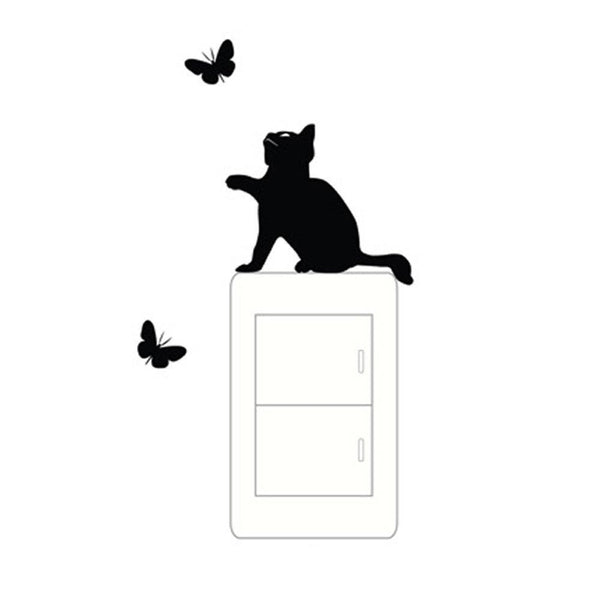 Cute Cat Catch Butterfly Wall Sticker-Non Electric Home Decor-[variant_title]-Khadiza Electricals