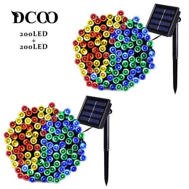 Dcoo 2 Pieces 8 Modes 72ft 22m 200 LEDs Solar Waterproof LED String Lights China / 2 Pack Colorful / 0-5W