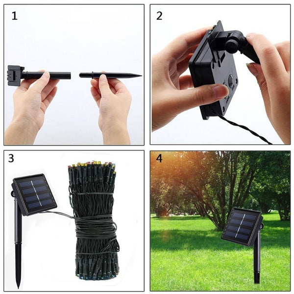 Dcoo 2 Pieces 8 Modes 72ft 22m 200 LEDs Solar Waterproof LED String Lights