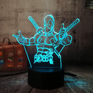 3D 7 Color Changing Deadpool Desk Night Lamp