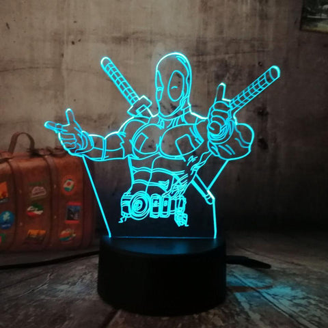 3D 7 Color Changing Deadpool Desk Night Lamp-Decorative Night Lamp-[variant_title]-Khadiza Electricals