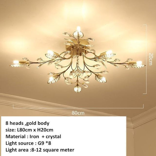 European Styled Luxurious Crystal Ceiling Chandelier-Decorative Chandelier-8 heads -Gold / Warm White-Khadiza Electricals