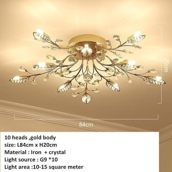 European Styled Luxurious Crystal Ceiling Chandelier-Decorative Chandelier-10 heads -Gold / Warm White-Khadiza Electricals
