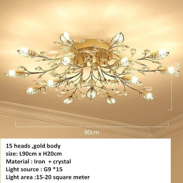 European Styled Luxurious Crystal Ceiling Chandelier-Decorative Chandelier-15 heads -Gold / Warm White-Khadiza Electricals