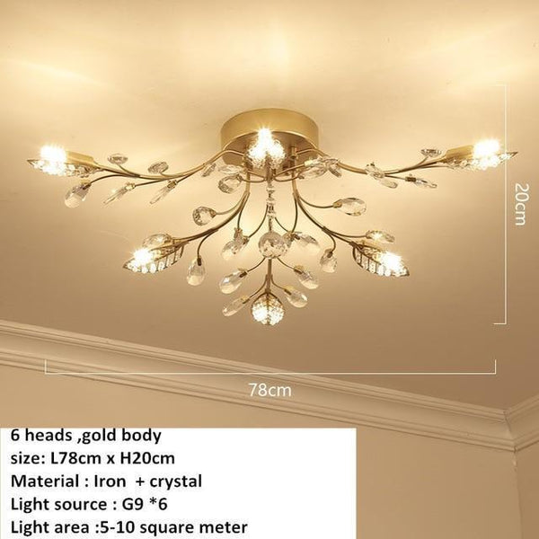 European Styled Luxurious Crystal Ceiling Chandelier-Decorative Chandelier-6 heads -Gold / Warm White-Khadiza Electricals