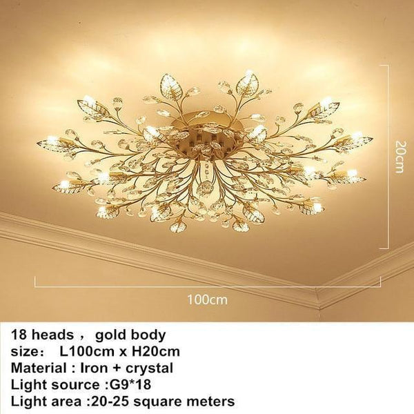 European Styled Luxurious Crystal Ceiling Chandelier-Decorative Chandelier-18 heads -Gold / Warm White-Khadiza Electricals