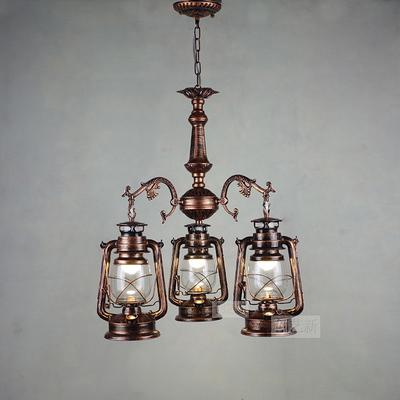 Vintage Retro Iron Hurricane Pendant Lamp-Decorative Pendant Lamp-3lights Red  coppor-Khadiza Electricals