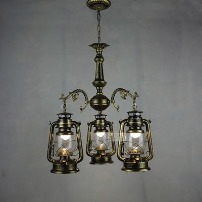 Vintage Retro Iron Hurricane Pendant Lamp-Decorative Pendant Lamp-3lights Bronze color-Khadiza Electricals