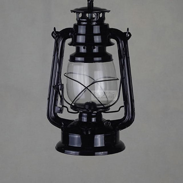 Vintage Retro Iron Hurricane Pendant Lamp-Decorative Pendant Lamp-1 light black-Khadiza Electricals