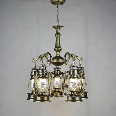 Vintage Retro Iron Hurricane Pendant Lamp-Decorative Pendant Lamp-5lights Bronze color-Khadiza Electricals