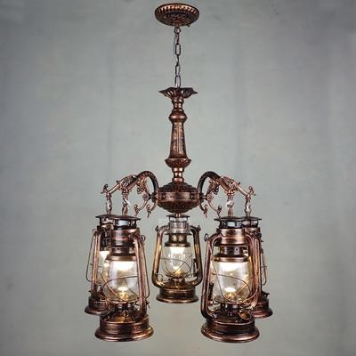 Vintage Retro Iron Hurricane Pendant Lamp-Decorative Pendant Lamp-5lights Red  coppor-Khadiza Electricals
