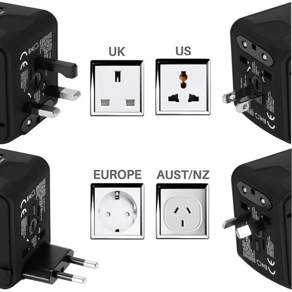 Universal All-in-one Power Adapter with 4 USB for US/UK/EU/AU/Asia (100-240V AC to 5V DC)