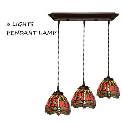 Dragonfly Stained Glass Pendant Lamp-Decorative Pendant Lamp-Orange-Khadiza Electricals
