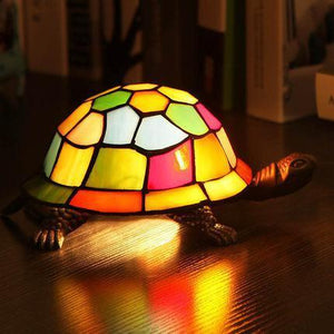 Turtle Styled Stained Glass Table Lamp White