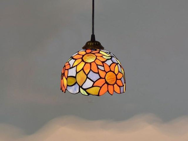 Baroque Stained Glass Pendant Lamp-Decorative Pendant Lamp-Sunflower / 40W / Warm White-Khadiza Electricals