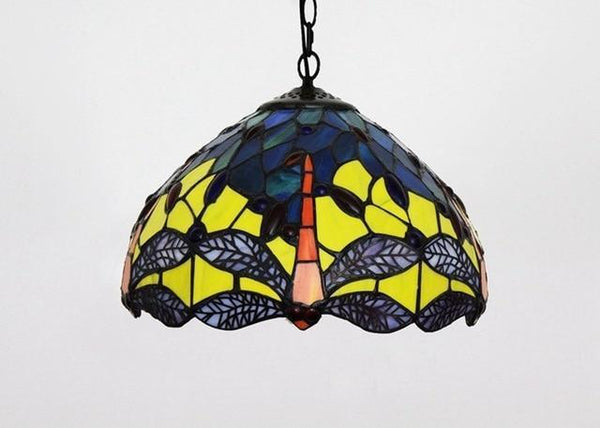 Tiffany Flower Stained Glass Pendant Lamp-Decorative Pendant Lamp-Dragonfly / 40W / Warm White-Khadiza Electricals
