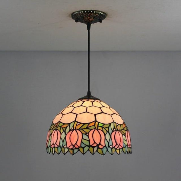 Tiffany Flower Stained Glass Pendant Lamp-Decorative Pendant Lamp-Yujin floral / 40W / Warm White-Khadiza Electricals