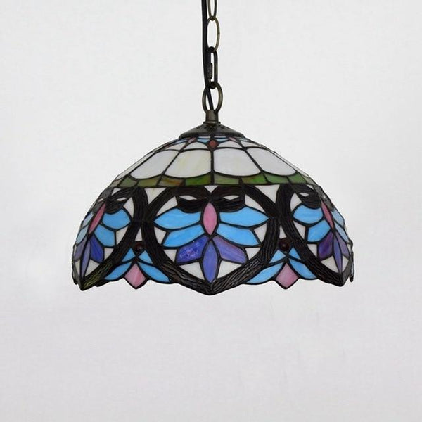 Tiffany Flower Stained Glass Pendant Lamp-Decorative Pendant Lamp-Blue Love / 40W / Warm White-Khadiza Electricals