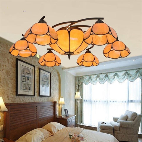 Vintage Warm Glass Chandelier for Living Room with Remote Control