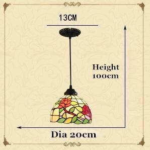 Pastoral Rose Stained Vintage Glass Chandelier-Decorative Chandelier-1 Light-Khadiza Electricals