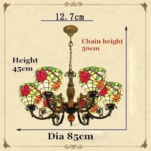 Pastoral Rose Stained Vintage Glass Chandelier-Decorative Chandelier-6 Lights-Khadiza Electricals