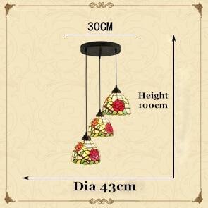 Pastoral Rose Stained Vintage Glass Chandelier-Decorative Chandelier-3 Lights Ceiling-Khadiza Electricals