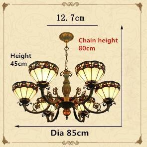 Vintage Baroque Stained Glass Chandelier-Decorative Chandelier-6 Lights-Khadiza Electricals